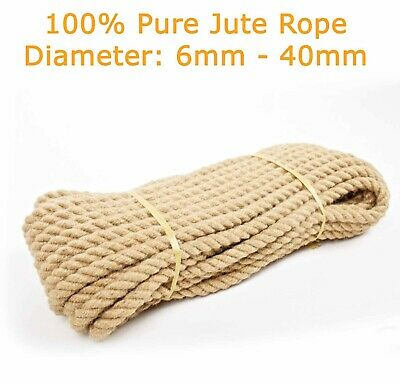 £0.99 • Buy 100% Natural Jute Hessian Rope Cord Braided Craft DIY Safe For Pets Animals Gym