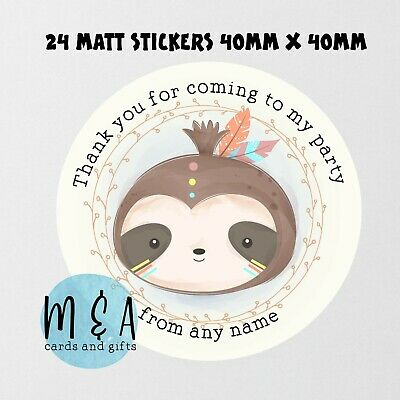 £1.50 • Buy Sloth Birthday Party Stickers , Baby Shower , Naming Day , Christening Ma260