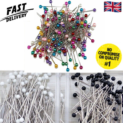 £2.99 • Buy Dressmaking Pearl Fine Glass Head Tailors Pins Quilting Sewing Craft Assorted UK