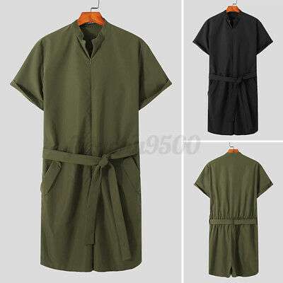 $28.41 • Buy Mens Fashion Cargo Romper Short Sleeve Zip Up Shorts Jumpsuit Playsuit Overalls
