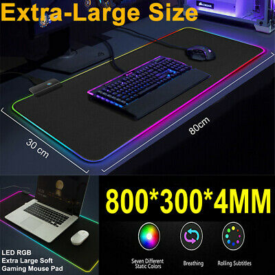 AU15.98 • Buy LED Gaming Mouse Pad Large RGB Extended Computer Keyboard Desk Anti-slip Mat L