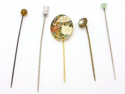 £14 • Buy 5x Stick Pin Brooch Lot Floral Cloisonné Clear Glass Stone Metal Vintage 1980s