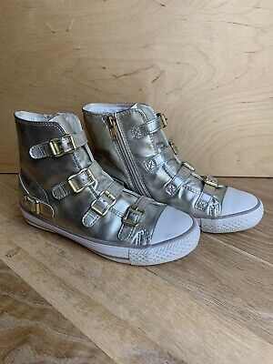 £49.99 • Buy Womens Kids Girls Ash Virgin Leather High Top Trainers EUR 35 UK 2.5 Gold VGC!