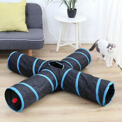 AU24.99 • Buy Cat Tunnel Toys For Pet Kitten 4 Holes Collapsible Crinkle Cat Dog Playing Tube