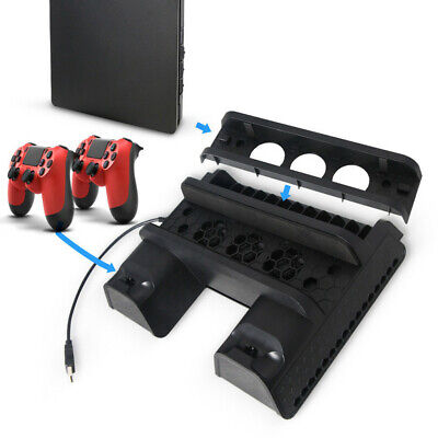AU42.30 • Buy For PS4 Pro Slim Vertical Stand + Cooling Fan Game Holder Charger Charging Dock