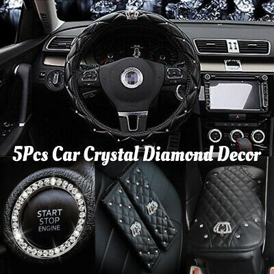 $46.89 • Buy Bling Black Car Accessories Interior Decoration For Girls Women Crystal Diamond