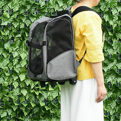 £28.99 • Buy Pet Travel Backpack Bag Cat Dog Carrier W/ Trolley And Telescopic Wheel Grey