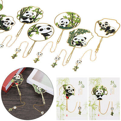£3.33 • Buy Panda Chinese Style Group Fan Shape Pagination Mark Brass Bookmark Book Clip