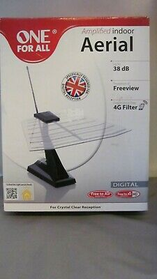 £15.99 • Buy ONE FOR ALL AMPLIFIED INDOOR AERIAL 38dB FREEVIEW 4G FILTER DVB-T/2 SV9135