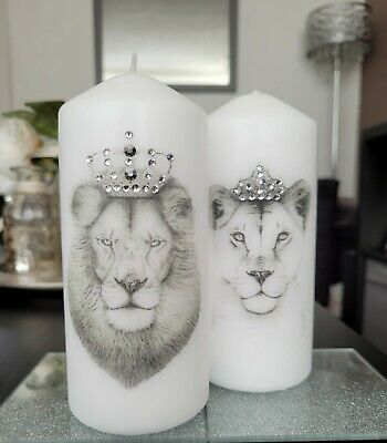 £15 • Buy 2x Piece Candle Set, Lion And Lioness, For Home Décor, Dressing Table, Gift