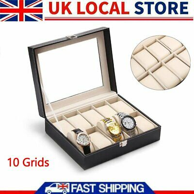 £11.12 • Buy 10Grids Watch Display Case Jewelry Collection Storage Organizer Leather Box UK