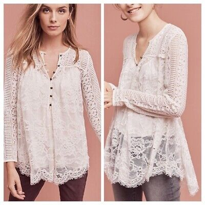 $ CDN26.73 • Buy Anthropologie Floreat Henley Top M 8 Scalloped Lace Floral Blouse Boho NEW 19231