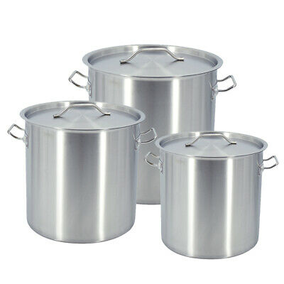 £49.90 • Buy 17/25/36/50/71/115L Deep Stock Pot Stainless Steel Cater Cooking Stew Soup Pot