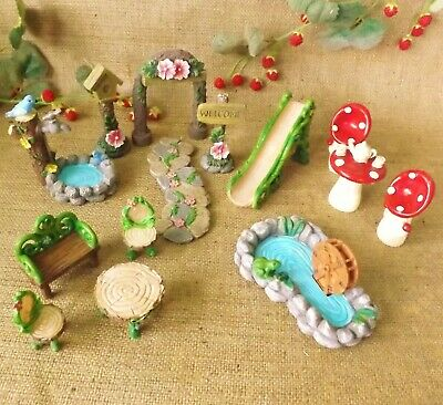 £8.49 • Buy Enchanted Garden Woodland Miniature World Fairy Forest Dolls House Accessories