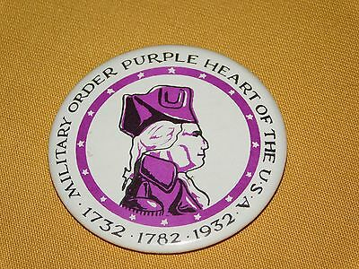$31.99 • Buy Vintage 1732-1782-1932 Military Order Purple Heart Of The Usa   Pinback  Button