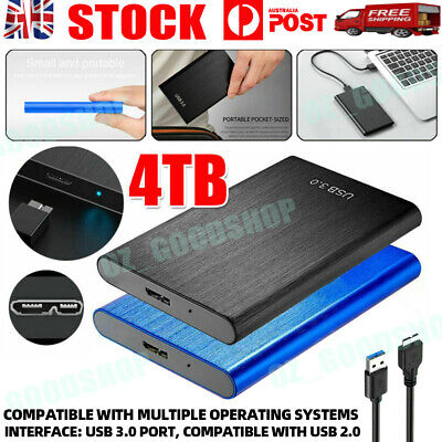 AU46.88 • Buy USB 3.0 4TB Portable Mobile Hard Drive Disk External HDD Solid State Laptop Slim