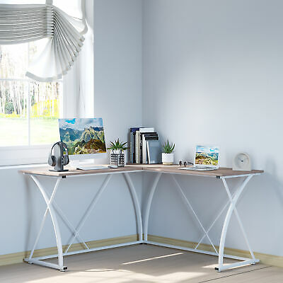 £64.99 • Buy L-Shaped Computer Desk Corner PC Table Writing Workstation Home Office, White