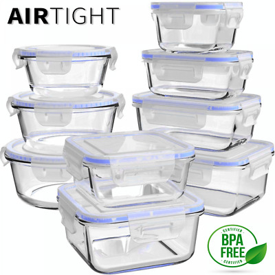 £35.40 • Buy 18pc Glass Food Storage Airtight Glass Container Set Microwave Oven Freezer Safe