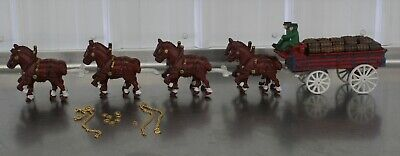 $ CDN157.34 • Buy Vintage Cast Iron Beer Wagon 2 Drivers Dog 28 Kegs Clydesdale Budweiser
