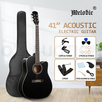 AU89.95 • Buy Melodic 41inch Acoustic Electric Guitar 4 Band EQ Wooden Folk W/Backpack Tuner