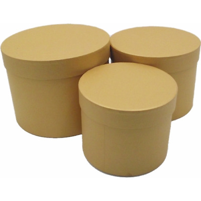 £11.50 • Buy Set Of 3 - Round Gold Hat Box Boxes - Storage Florist Home Gift Decoration
