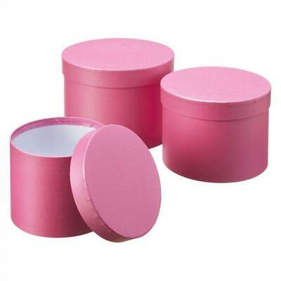 £11.50 • Buy Set Of 3 Oasis Round Strong Pink Hat Boxes Storage Florist Home Gift Decoration