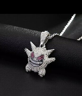 £8.75 • Buy Iced Diamond Gengar Pokemon Pendant Necklace Chain Bling Out Jewellery
