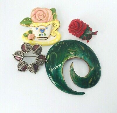 £18 • Buy  Lot 4x Vintage Brooches Carved Bakalite Porcelain Enamel Miracle Style