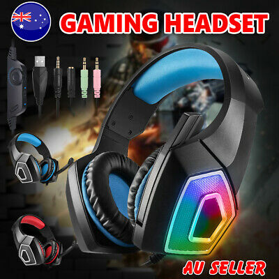 AU29.45 • Buy Wired Gaming Headset Headphones MIC LED Earphones For PC Mac Laptop PS4 Xbox One