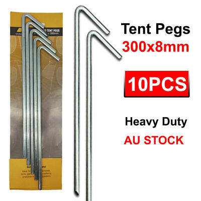 AU22.68 • Buy 10Pcs Tent Pegs Hi-Tensile Galv Steel Aussie Made Heavy Duty Stakes 8mm X 300mm