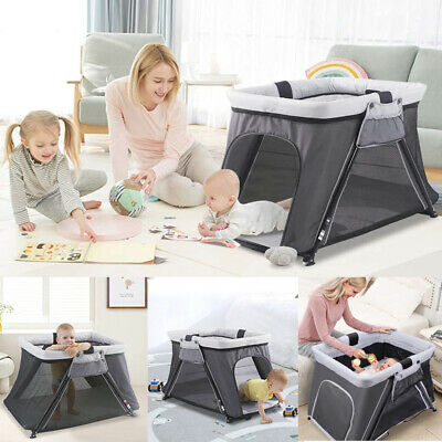 £45.59 • Buy Folding Portable Baby Travel Cot Crib Bassinet Bed Playpen Infants With Mattress