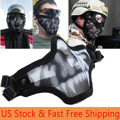 $8.54 • Buy Military Tactical Airsoft Mesh Half Face Mask CS Game Paintball Party Adjustable