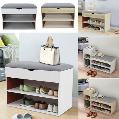 £37.98 • Buy Wooden Shoe Bench Storage Rack Hallway Seat Shoes Cabinet With Padded Cushion