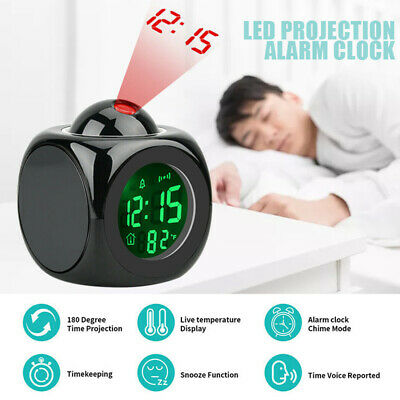 £9.84 • Buy LED Digital Projection Alarm Clock Projector Voice Talking Time Temperature O