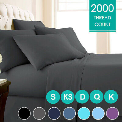 AU29.99 • Buy 2000TC 4PCS Single/Double/Queen/King Bed Flat Fitted Sheet Set Pillowcase Bed AU