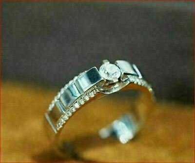 $284.56 • Buy 14K White Gold Men's Solitaire Engagement Wedding Attractive Ring 1.01Ct Diamond