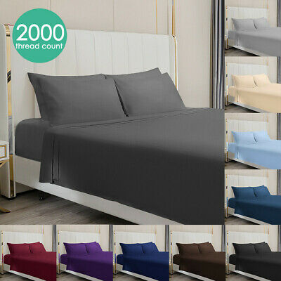 AU29.99 • Buy NEW Ultra SOFT 2000TC - 4 Pcs FITTED&FLAT Sheet Set Queen/King/Double Size Bed