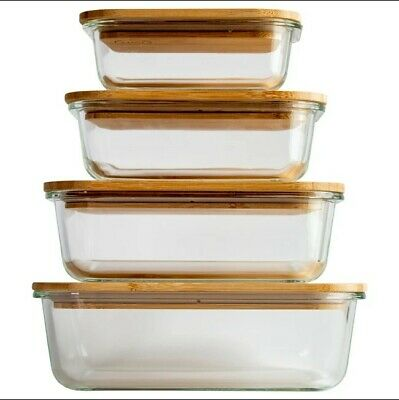 £21.99 • Buy Glass Food Container With Bamboo Lids Set Of 4 Storage Eco Friendly