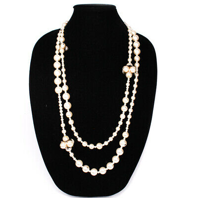 £523.75 • Buy Chanel - Pearl Necklace - Cluster CC Long Gold Square Double Strand White