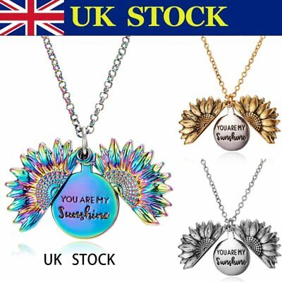 £3.59 • Buy You Are My Sunshine Sunflower Open Locket Pendant Chain Necklace Christmas Gifts
