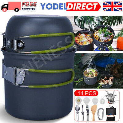 £16.99 • Buy 14Pcs/Set Portable Camping Cookware Kit Outdoor Picnic Hiking Cooking Equipment