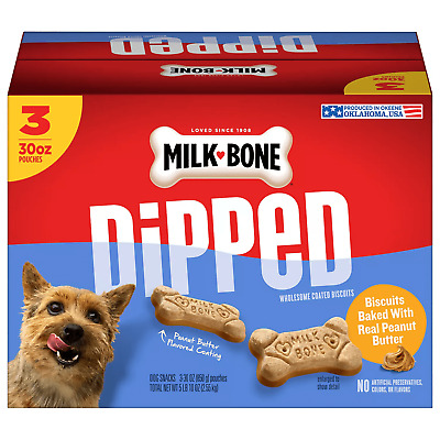 $32.98 • Buy Milk-Bone Dipped Dog Biscuits, Bake With Real Peanut Butter (90 Oz.)