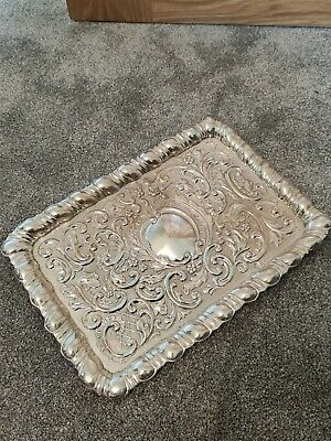 £350 • Buy Ornate Solid Sterling Silver Edwardian Tray Plaque