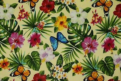 £3.99 • Buy Yellow With Multicoloured Butterfly & Flowers - Cotton Sateen - Sold By Metre