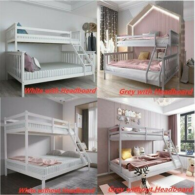 £169.99 • Buy Double Bed Bunk Beds Triple Pine Wood Kids Children Bed Frame Stairs 4 Types UK