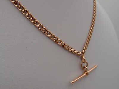 £649 • Buy 17.5in VICTORIAN 9ct ROSE GOLD DOUBLE ALBERT CHAIN NECKLACE T BAR DOG CLIP 22.5g