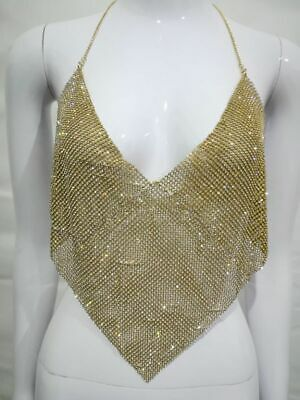 £9.45 • Buy Club Sparkly Metal Bellyband Sexy Chainmail Halter Triangle Bra Crop Top 4 Color