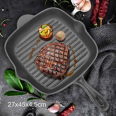 £15.29 • Buy Griddle Frying Pan Grill Cast Iron Non Stick Skillet Cooking Fry Square Steak UK