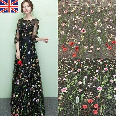 £8.35 • Buy 1.5M Floral Embroidery Lace Trims Fabric Tulle Mesh Crafts Sewing Bridal Dresses