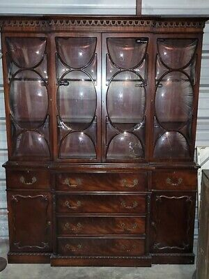 $750 • Buy Antique Chippendale Style Mahogany Bubble Glass Breakfront With Butler's Desk
